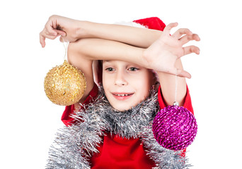 Beautiful happy child Santa holding decoration balls smiling