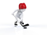 3d man in red hockey helmets, skating on a white background.