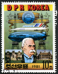 portrait of Ferdinand von Zeppelin and dirigible