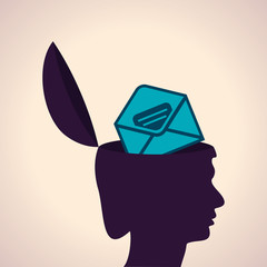 Illustration of thinking concept-Human head with envelope symbol