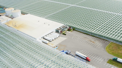 Aerial view industrial agricultural greenhouses, Vancouver