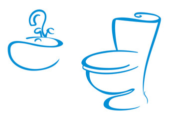Icons with sink and toilet bowl
