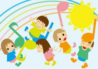 外で音符と遊ぶ子供たち