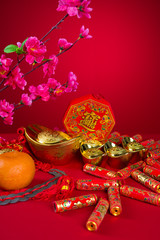 Chinese New Year Decoration plum blossom and gold bullion symbol