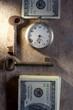 Key to Financial Success. Money, keys, pocket watch.