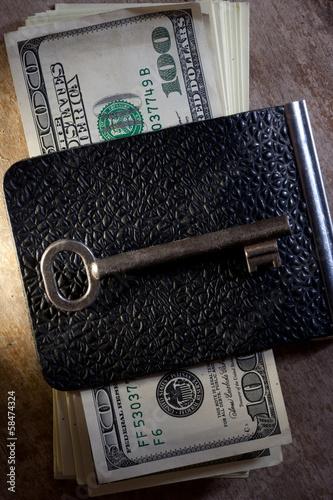 Key to Financial Success. Money, key.