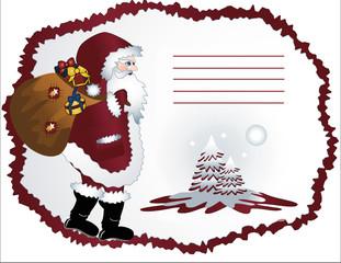Weihnachtsmann auf Grußkarte