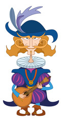 Noble cavalier with mandolin
