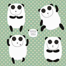 Enthousiaste ensemble avec le panda de bande dessinée. Panda fait du yoga.