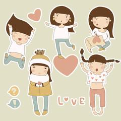 Valentine set girl in love. Vector cartoon illustrations
