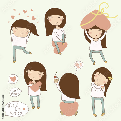 Valentine set girl in love. Vector cartoon illustrations