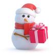 Santa Snowman has a gift