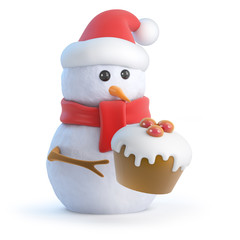 Santa Snowman has a cake