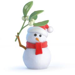 Santa Snowman stands under the mistletoe