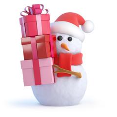 Santa Snowman has lots of gifts