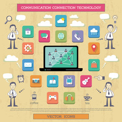 Internet connection and communication.