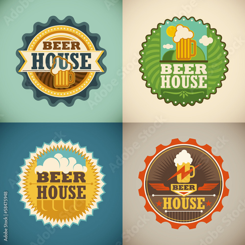 Set of beer house labels.