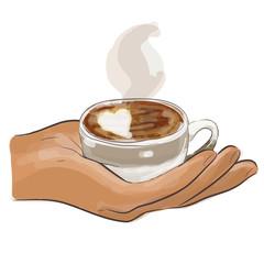hand mit kaffee