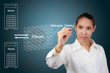 Businesswoman writing simple diagram concept of security on the