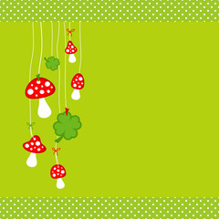 Hanging Fly Agarics & Cloverleafs Green Dots Border