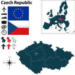 Map of  Czech Republic with European Union
