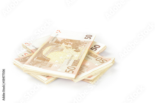 A stack of fitfy euros bank notes