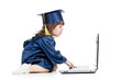 funny kid in academician clothes  using laptop
