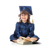 funny kid in academician clothes  with book