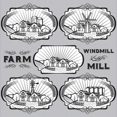 set of farm, mill, windmill, rural landscape