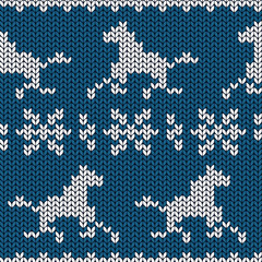 Seamless knitting pattern with horses