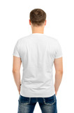 Back white t-shirt on a young man