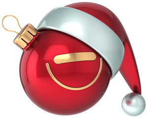 Christmas ball smiley face Happy New Year Santa hat decoration
