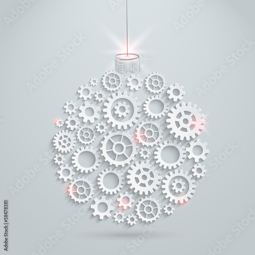 Vector gears christmas ball