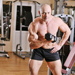 Bodybuilder training at gym