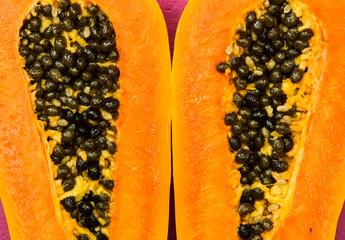 Papaya half cut