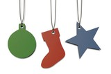 colored paper tags shaped in Christmas theme