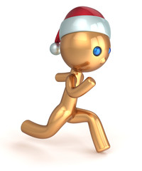 Running man gold stylized character quickly runner person