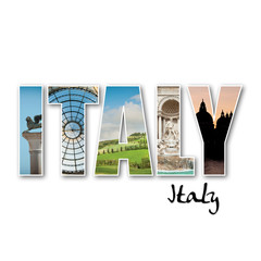 """ITALY"" collage of different famous locations."