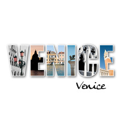 """VENICE"" collage of different famous locations."