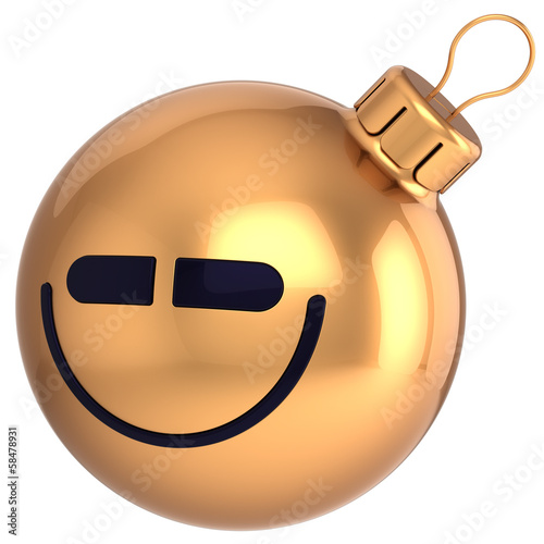 Smiling Christmas ball Happy New Year bauble