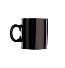 Black glance ceramic coffee cup isolated on white