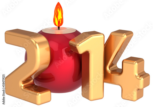 Christmas candle New 2014 Year flame burning decoration