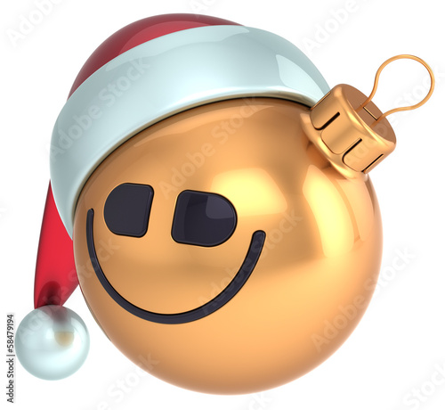 Smiley face Christmas ball gold smiling New Year bauble