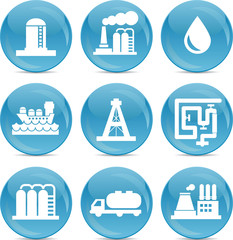 oil and gas related icons white on blue balls