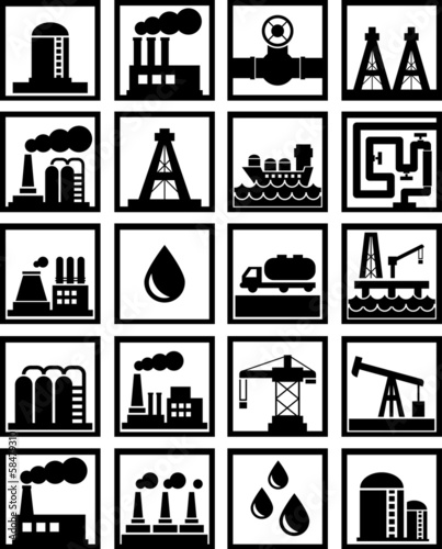 oil and gas related icons black on white
