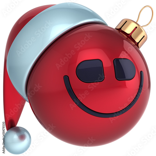 Christmas ball smile face Happy New Year bauble Santa hat