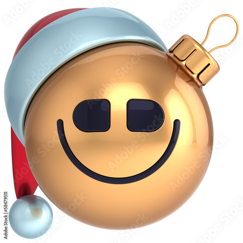 Smile Christmas ball New Year bauble happy Santa hat smiley face