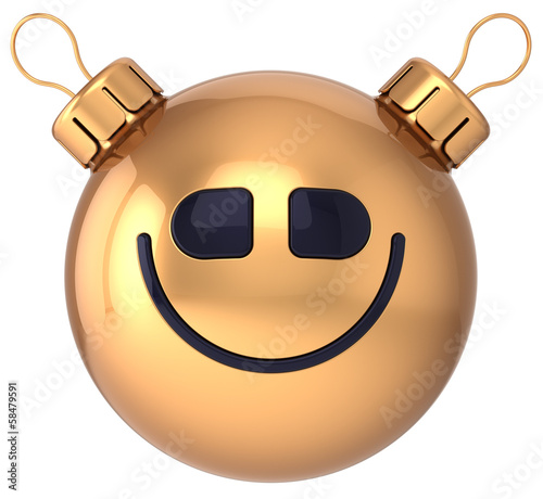 Smiley face New Year bauble Christmas ball happy smile avatar