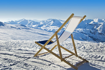 Transat sur une piste de ski - Alpes, France