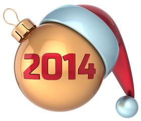 Christmas ball New 2014 Year bauble gold red decoration